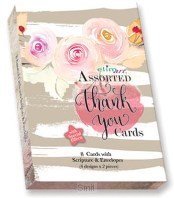Boxed cards thank you roses front set8