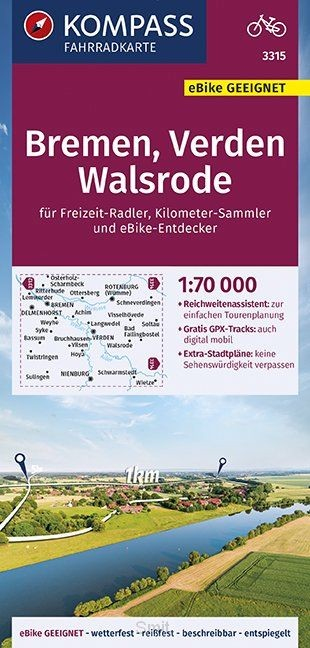 KOMPASS Fahrradkarte Bremen, Verden, Walsrode 1:70.000, FK 3315