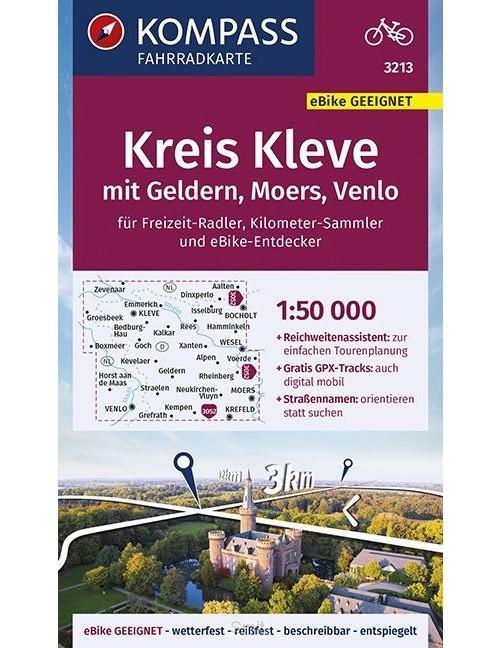 KOMPASS Fahrradkarte Kreis Kleve mit Geldern, Moers, Venlo 1:50.000, FK 3213