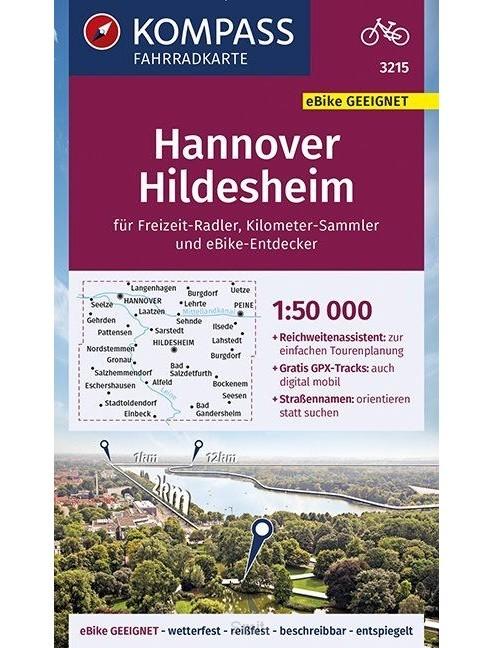 KOMPASS Fahrradkarte Hannover, Hildesheim 1:50.000, FK 3215