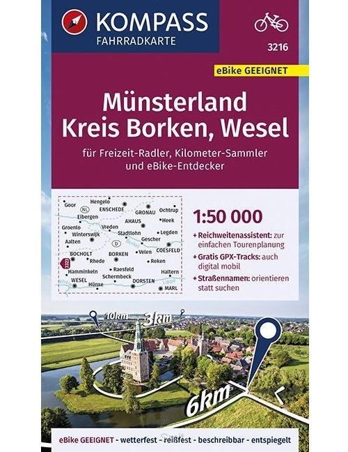 KOMPASS Fahrradkarte Münsterland, Kreis Borken, Wesel 1:50.000, FK 3216