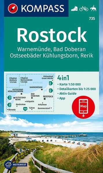 KOMPASS Wanderkarte 735 Rostock, Warnemünde
