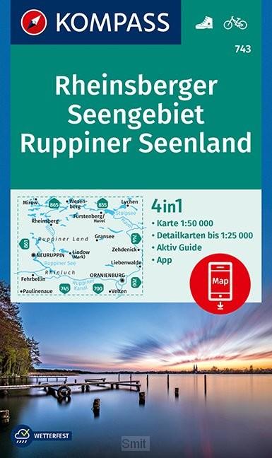 KOMPASS Wanderkarte Rheinsberger Seengebiet, Ruppiner Seenland 1:50 000