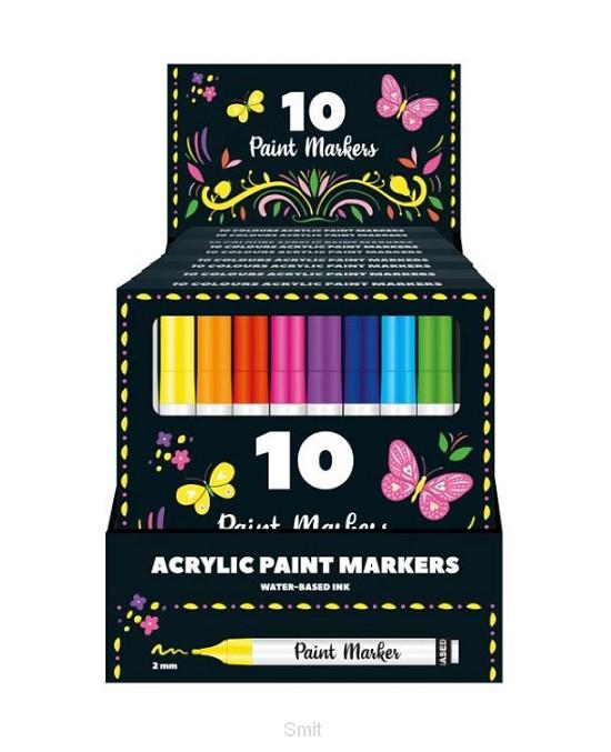 Display - 10 sets met 10 Acryl verfstiften