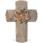 Wall cross with flower 30,5cm