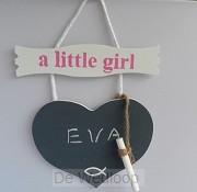 Wandbord little girl naambord met krijt