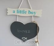 Wandbord little boy naambord met krijt