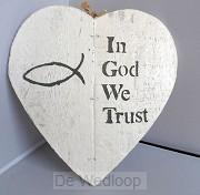 Wandbord in God we trust 23x24cm