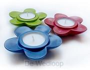 Waxinelichthouder bloem diverse kleuren