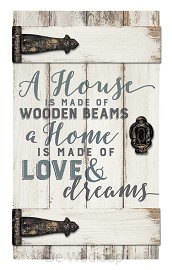 A house is made of wooden beams