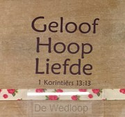 Geloof Hoop Liefde Woodplock - 1 Kor 13: