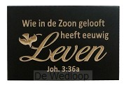 Wandbord leven Joh. 3:36a 10x15