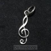 925 Silver Pendant G-cleff small 19x6x1m