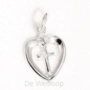 925 Silver Pendant Cross in Heart 17x12x