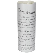 Wax candle love is patient