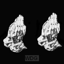 Oorstekers zilver biddende handen