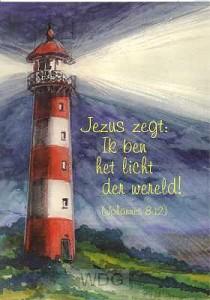 Prentbriefkaart vuurtoren joh 8:12