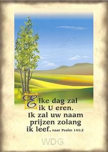 Poster a4 landschap psalm 145:2