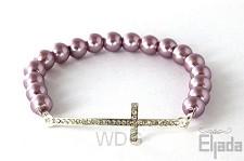 Armband met kruis tussenstuk salome lila