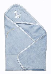 Badcape met capuchon blauw