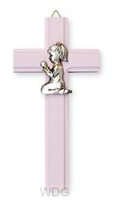 Kruis 15x7,5 rose communie meisje