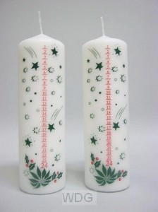 Advent candle with numbers - 19 x 6,5 cm