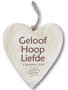 Houten hart Geloof Hoop Liefde