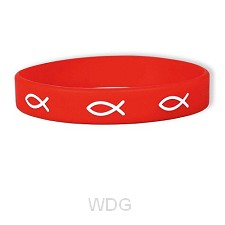 Armband rubber vis rood