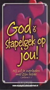 Kaart bijbeltje God is stapelgek op jou