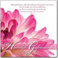 Prentbriefkaart hartelijk gefeliciteerd