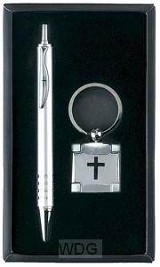 Pen with Keyring - Black engraved cross