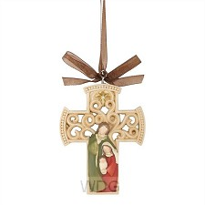 Ornament cross with holy family 8,25cm
