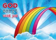 Prentbriefkaart God zorgt voor jou