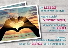 Prentbriefkaart geloof hoop liefde