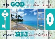 Prentbriefkaart als God een deur sluit