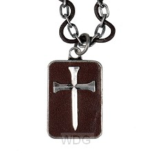 Leather nail cross - 56 cm