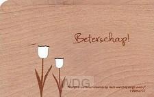 Kaart hout tulpen beterschap set6