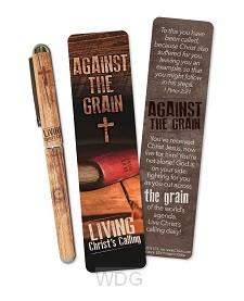 Pen/bookmark against the grain
