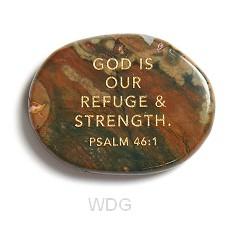 Refuge and strength pocket stone