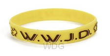 Armband geel WWJD duif Silicone