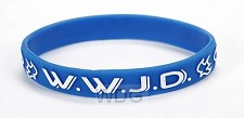 Armband blauw WWJD duif Silicone