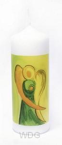 Kaars engel geel/groen 17cm