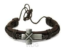 Armband leer met metalen kruis1cm breed