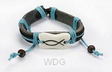 Armband blauw leder met vis