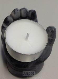 Open hand met waxine 6-8cm
