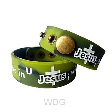 Armband silicone groen Jesus I believe i