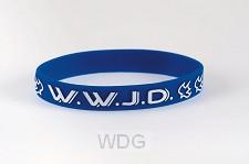 Armband blauw WWJD duif Silicone