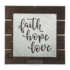 Pallet sign faith hope love 35,5x35,5cm