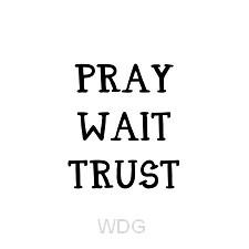 Kaart zwart-wit Pray Wait Trust