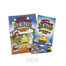 Coloring set happy birthday Jesus